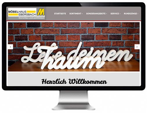 Printscreen der Webseite von Möbelhaus Ebersbach