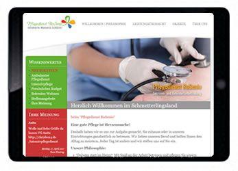 Printscreen der Webseite pflegedienst-rosenio.de