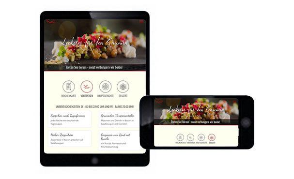 Tabletansicht und Handyansicht der Webseite vom Restaurant Salü
