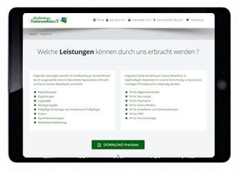 Printscreen der Webseite seniorenhaeusel-grossharthau.de